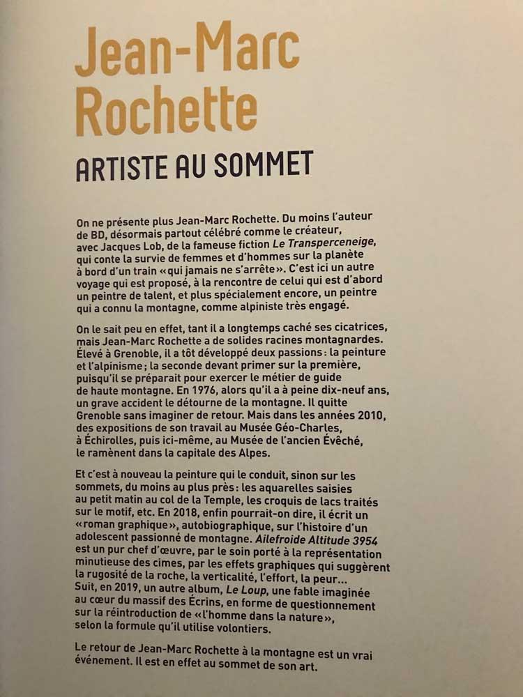 Jean-Marc Rochette Musée de l'ancien Evêché Grenoble